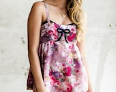 Silk Teddy Romper Flapper Step In / Pink Floral Black Silk Lace Sheer Bow / NIGHT GARDEN Deco Romper - China Rose