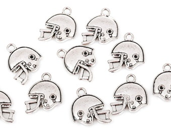 "5 Silver FOOTBALL HELMET Charm Pendants, double sided design, silver tone metal, 3/4"", chs1840"