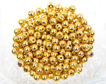 50 Small Gold Plated Round Metal Beads, bme0353