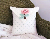 LOVE NOTE chenille pillow cover, shabby cottage chic pillow case, pink rose cushion cover, 12 X 12