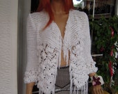 RESERVED jacket handmade crochet  in white cotton embroidered with semi precious stones and tassels spring summer gift idea by goldenyarn