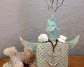 Sea Urchin Altered Art Bottle Doll Beach Art Ocean Love