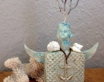 Sea Urchin Altered Art Bottle Doll Beach Art Ocean Love