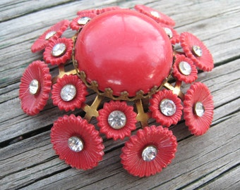 Gorgeous Vintage Red Plastic Flower with Floral and Rhinestone Motif Set in Brass Bezel