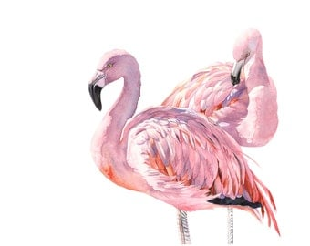 Flamingo Print of watercolour painting A4 size medum print F3815 wall art print - bird art print