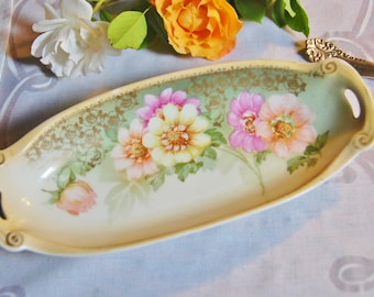Antique Handpainted Trinket Dish with Handles, Reinhold Schlegelmilch RS Silesia, Germany