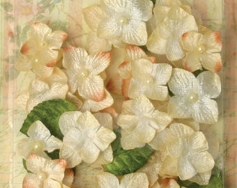 small fabric flowers -  Chantilly Velvet Hydrangeas  -  Ivory Cream 1272-162 - (32 flowers and 8 leaves)
