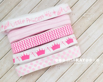 "Perfect Princess Elastic Assortment - 5 Yards Pink Patterned 5/8"" Foldover Elastic Kit for headbands and hair ties"
