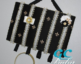Fleur-de-lis Hair Clip Board - Black and Gold with Fancy Organza Ruffle Ribbons - Girls Hair Accessory Organizer and Display