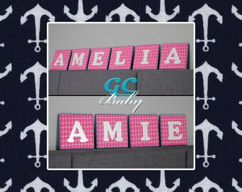 Nautical Anchors Fabric Upholstered Letter Plaque in Hot Pink or Navy Blue - Personalized Wall Decor for Baby Nursery, Boys or Girls Room