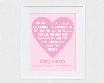 personalised nursery art poem love heart - printable file - strength of my love for you - customised statistics babies room pink saying
