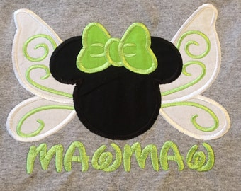 Custom Tinkerbell wings mouse head personalized applique Infant Toddler shirt