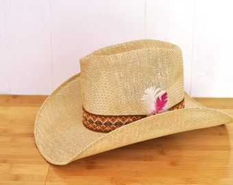 Vintage Cowboy Hat Straw Country Southwestern Tall Cowgirl Hat Size Medium 56 with Pink & White Feathers