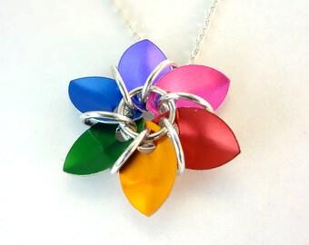 Rainbow Flower Necklace ROYGBIV
