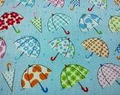 Umbrella, pale blue, 1/2 yard, pure cotton fabric