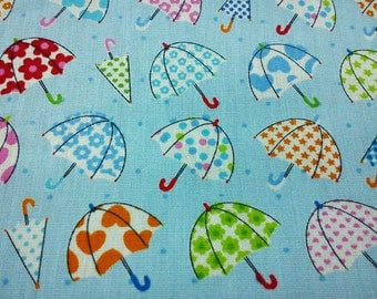 Umbrella, pale blue, fat quarter, pure cotton fabric