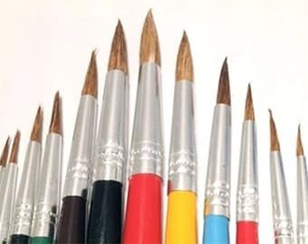 Pony Hair Paint Brush, Round Aluminum Ferrules ART146 12 Brushes FREE SHIPPING