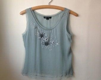 Albert Nipon Silk Beaded Tank Sequins // Sea Foam Silk // Soft Blue Green // Dressy Tank // Boho // Crop Top // Embroidered  - S