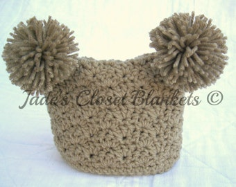 Crochet Brown Baby Pom Pom Hat, Neutral Baby Hat, Taupe, Khaki, 0 to 18 months