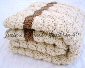 Crochet Baby Blanket, Baby Blanket, Crochet Off White Baby Blanket, Vanilla Latte with Mocha accents, travel size