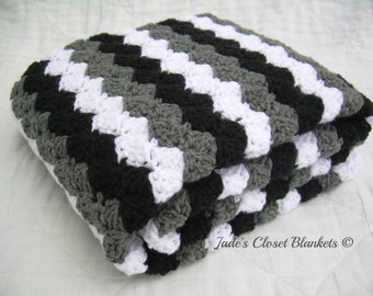 Crochet Baby Blanket, Baby Blanket, Crochet Grey Baby Blanket, Gray Baby Blanket, black, white, and grey, travel size