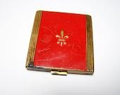 Vintage Compact Red Enamel with Fleur de Lis Design