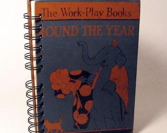 1930 ROUND THE YEAR Handmade Journal Vintage Upcycled Book Vintage Children's Reader