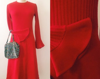 1960s Dress / Vintage Red Mod Dress by Orhbach's / Made In France