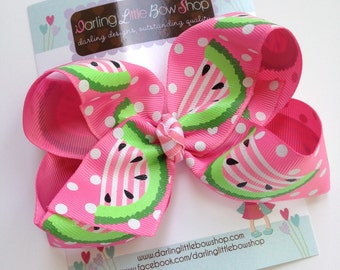 Watermelon bow -- Watermelon Sweetie -- Large hair bow with optional headband -- pink and lime green sparkly watermelon