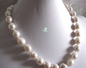 Pearl Necklace -18 Inches 12-14mm Kasumi AA Baroque White Freshwater Pearl Necklace - Free Shipping