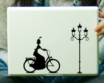 CLEARANCE Girl in Vintage Bicycle Decal Laptop iPad Sticker