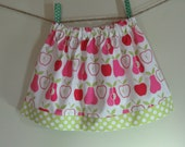 Girls Skirt Twirl Skirt Apples Pink Pears Lime Green Polka Dot Ready to Ship!
