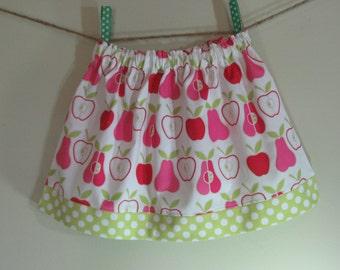 Girls Skirt Twirl Skirt Apples Pink Pears Lime Green Polka Dot Ready to Ship!