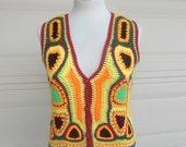 Vintage 70s Hippie Crochet SUNFLOWER Sweater Vest Top XS-S