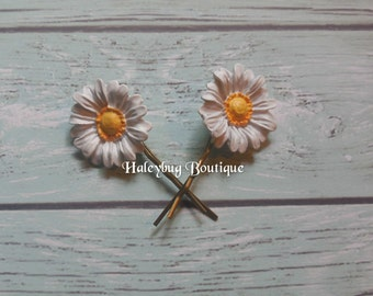 Flower Bobby Pins, Daisy, Antique Bronze, Women's Bobby Pins, Hair Pins