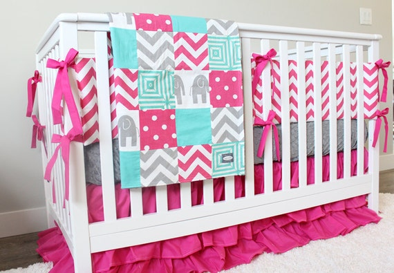 pink and teal crib bedding 2