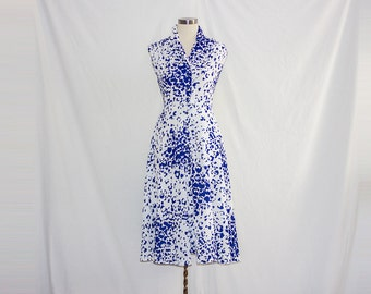 Vintage Fit & Flare White Printed Dress