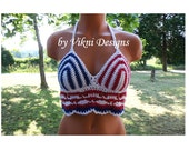 American Flag Hippie Halter Top, Crochet Festival Top by Vikni Designs