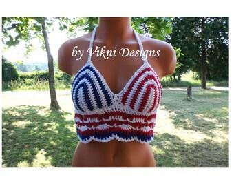 American Flag Hippie Halter Top, Crochet Festival Top by Vikni Designs
