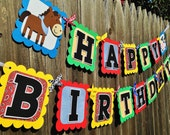 MADE TO ORDER Barnyard Farm Happy Birthday Banner - Customize Your Way