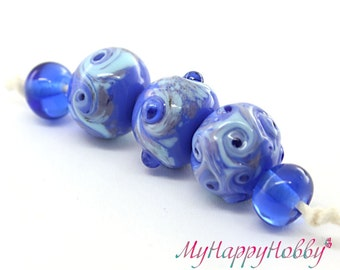 Set of 5 Handmade glass lampwork beads