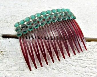 Vintage Emerald Green Rhinestone Hair Comb, Green Crystal Hair Comb, Decorative Hair Comb, USA Hair Comb, 1950s Fashions Hair Accessories