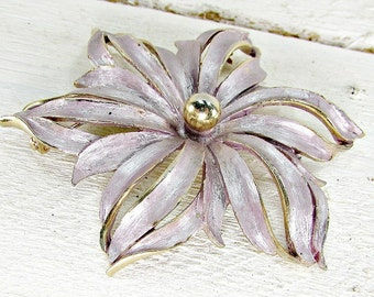 Vintage Brooch Pin, Enamel Flower Brooch, Purple Lavender Flower Brooch, Large Gold Flower Brooch, 1960s 1970s Vintage Jewelry, Gift for Mom