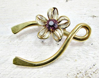 Vintage Gold Wishbone Brooch Pin, Rhinestone Enamel Flower Brooch, Lucky Wishbone Brooch, 1950s Vintage Costume Jewelry, Good Luck Jewelry