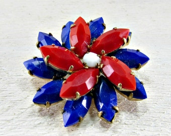 Vintage Patriotic Brooch Pin, Red White and Blue Brooch, Rhinestone Flower Brooch,4th of July Brooch, Memorial Day, 1960s Patriotic Jewelry