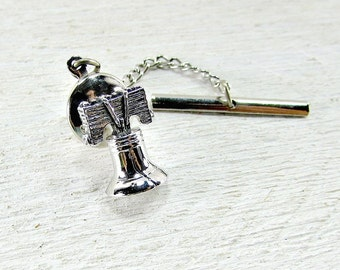 Vintage Liberty Bell Tie Tack Pin, Mens Silver Tie Tack Pin, Patriotic Tie Tack Pin, 1970s Mens Vintage Jewelry, Gift for Dad, Fathers Day