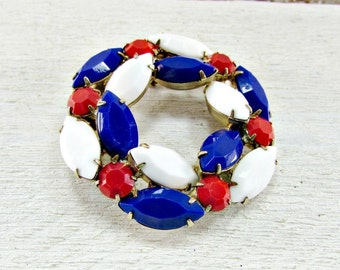 Vintage Patriotic Brooch Pin, Red White and Blue Brooch, Rhinestone Circle Brooch, 4th of July Brooch, Labor Day, 1960s Patriotic Jewelry