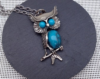 Vintage Owl Necklace with Turquoise Blue Details