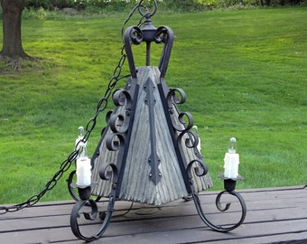 Mid Evil Gothic Black Wrought Iron Hanging Lamp