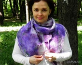 Nunofelt scarf. Lilac blossoms. Nature inspired all season nuno felt silk scarf. Lilac, purple, burgundy, green. Raw wool curls silk chiffon
